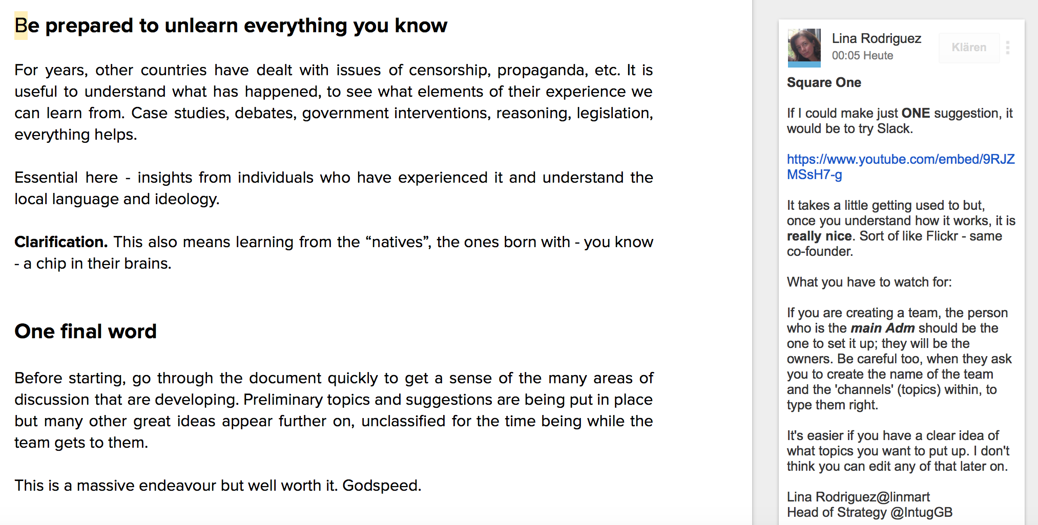 Screenshot aus Google Docs