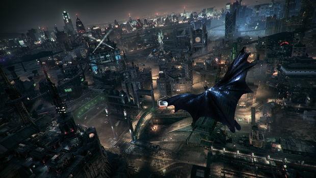 """Eine schwarze Wand aus Wolkenkratzern – so stellt sich Gotham auch im Videospiel """"Batman: Arkham Knight""""  dar (Foto: Warner Bros Games, Ullstein Bild)"""