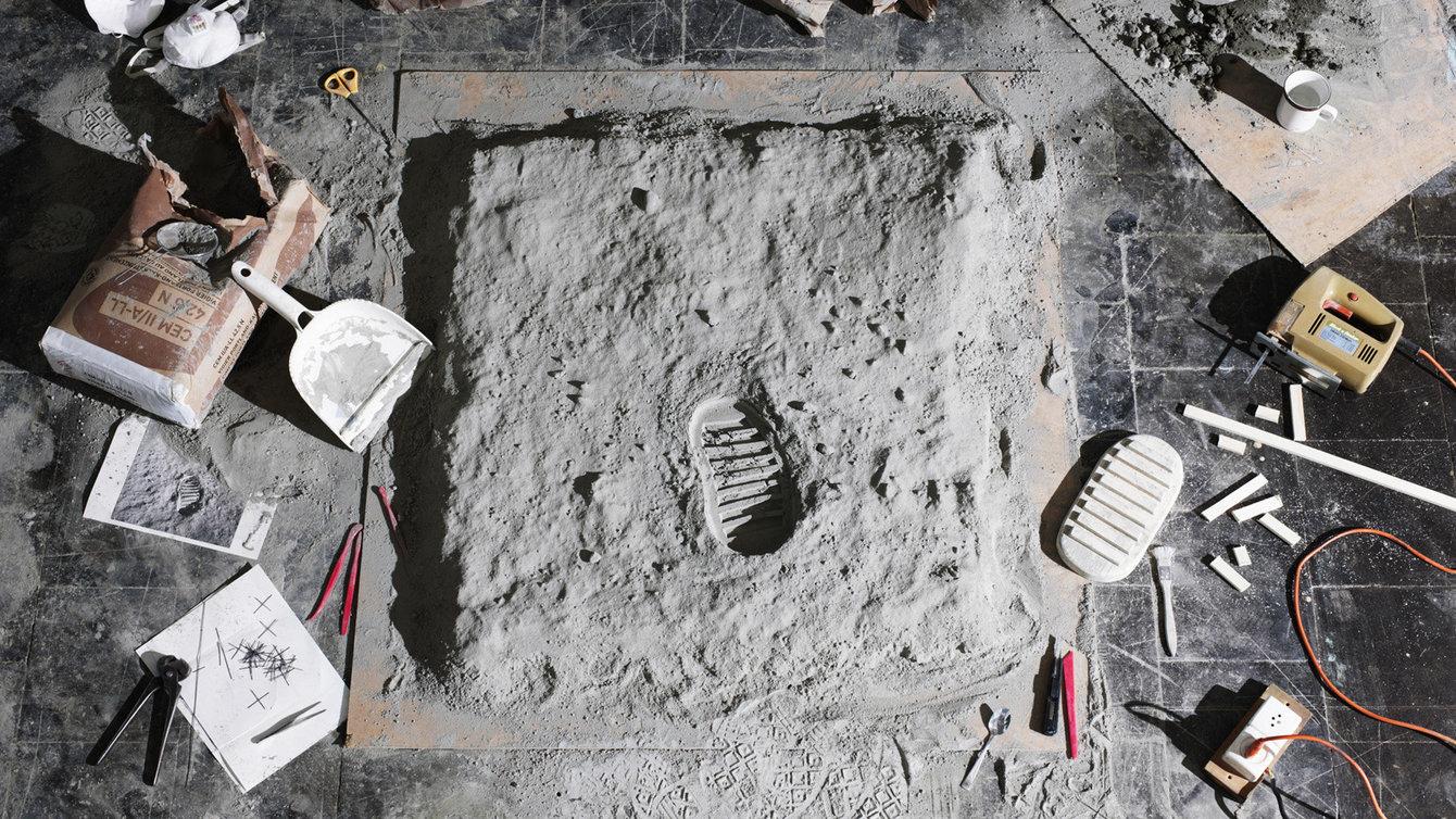Fußabdruck auf dem Mond