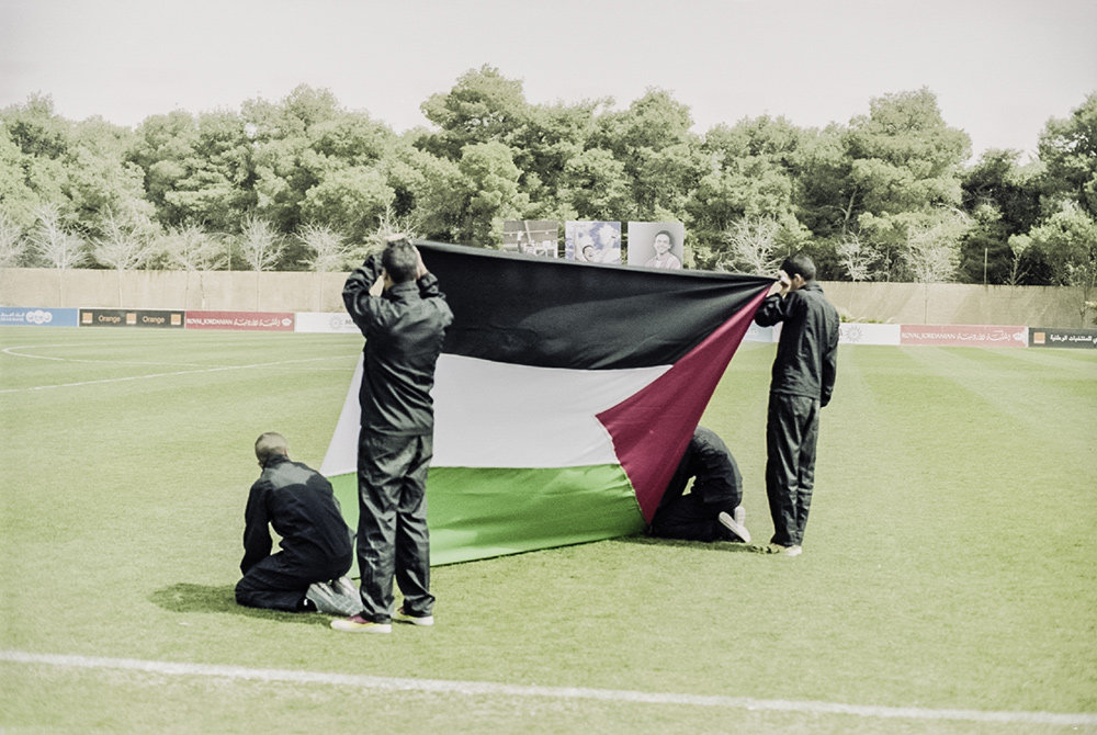 Fahne beim Fussballspiel