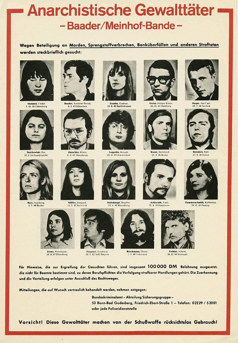 RAF Fahndungsplakat des Bundeskriminalamts, 1972 (Foto: picture alliance / akg-images)