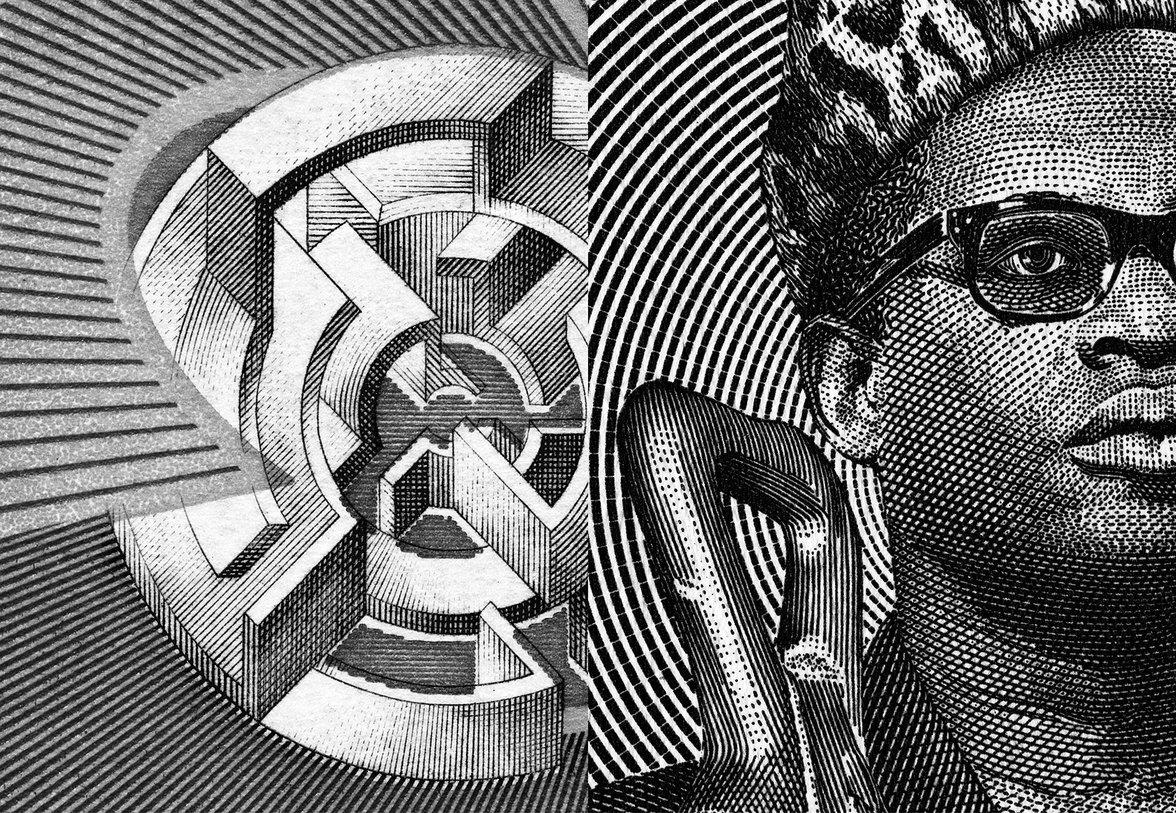 Links: unmögliche Figur, rechts: angeschnittenes Porträt von Mobuto Sese Seko
