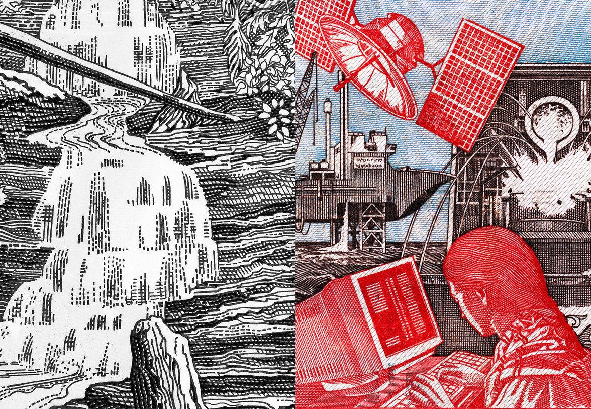 Linke Seite: ein Wasserfall, rechte Seite: eine Frau am Computer, ein Satellit etc.