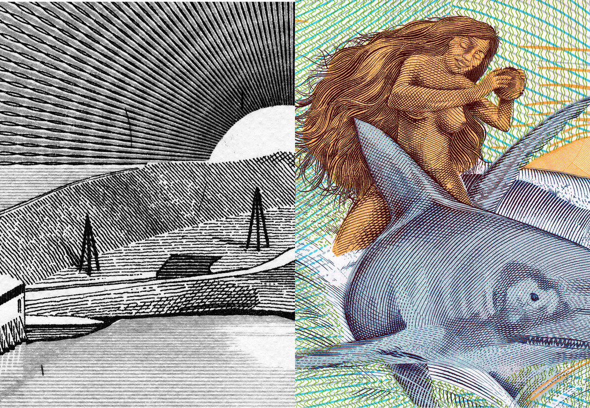 Links: eine Landschaft, rechts: ein Hai und eine nackte, tanzende Frau