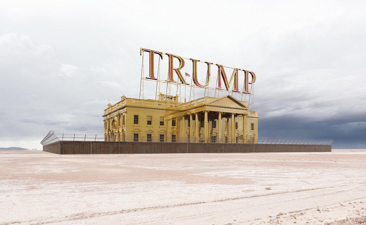 Goldenes Fort Knox mit Trump Logo auf dem Dach (Foto: Victor Enrich)