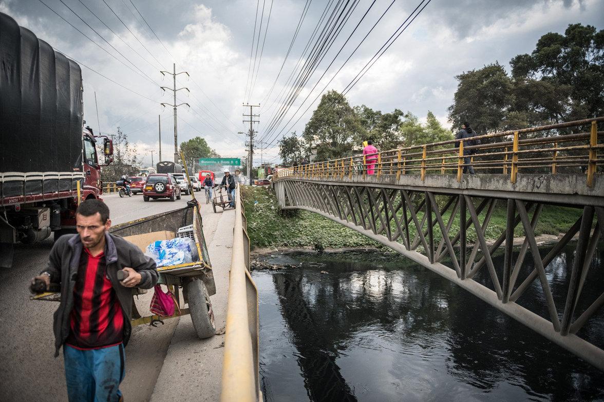 Bogota Armenviertel am Fluss