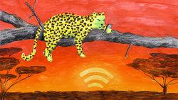 Illustration: Ein Leopard chillt auf einem Baum und hält in seiner linken Vorderpfote ein Smartphone. Im Hintergrund die Savanne, der Sonnenuntergang sieht aus wie das Symbol für WLAN-Empfang.