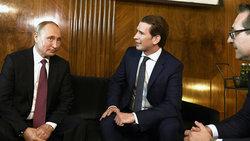 Der russische Präsident Wladimir Putin, Sebastian Kurz (ÖVP) und Heinz-Christian Strache (FPÖ) im Juni 2018 (Foto: picture alliance / ROBERT JAEGER / APA / picturedesk.com)