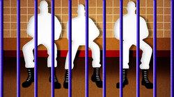 Illustration von drei Männern hinter Gittern
