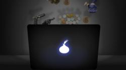 Apple Laptop mit leuchtender Zwiebel statt Apfel-Logo