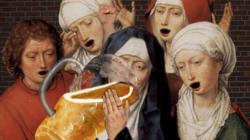 Illustration von Bier trinkenden Nonnen