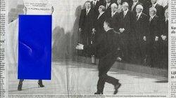 Blaue Aufkleber auf Zeitungsbildern verdecken unerwünschte Inhalte, meist nackte Teile des weiblichen Körpers. Das gab es bis vor einigen Jahren im Iran – so bekamen dort Abonnenten ausländischer Zeitungen ihr Blatt geliefert. Diese altmodische, in Handar