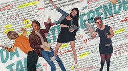 Studierende tanzen vor redigiertem Text