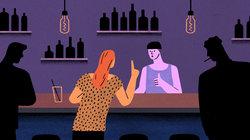 Illustration einer Frau die an der Bar nach Luisa fragt