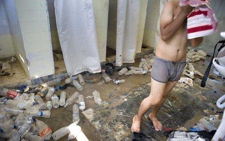 Unhygienische Zustände: Dusche für Flüchtlinge in Mytilini auf der Insel Lesbos, Juli 2015