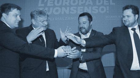 Matteo Salvini, Olli Kotro, Jörg Meuthen und Anders Vistisen (Foto: Alessandro Garofalo/REUTERS)