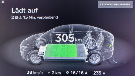 Das Display in einem Elektroauto der Marke Tesla zeigt den Ladezustand das Akkus an (Foto: Patrick Pleul/picture alliance/dpa-Zentralbild/ZB)