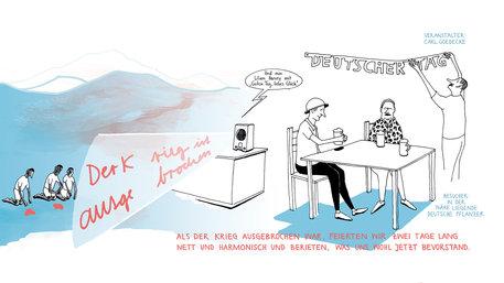 Ein Bild aus dem Comic Raus Rein über die Deutsche Kolonialschule